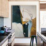 Peinture abstraite originale, peinture abstraite minimaliste, grande peinture abstraite, peinture beige, peinture verte, peinture sur toile grand mur
