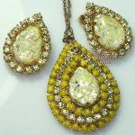 #Pendentif et boucles d'oreilles avec collier, #Easter #Spring Lemon Yellow Crackle Gl ...