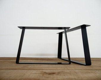 Pieds de Table à manger, 28″ H X 24″ W acier plat et large en acier Table jambes, hauteur 26″ à 32″ Set(2)