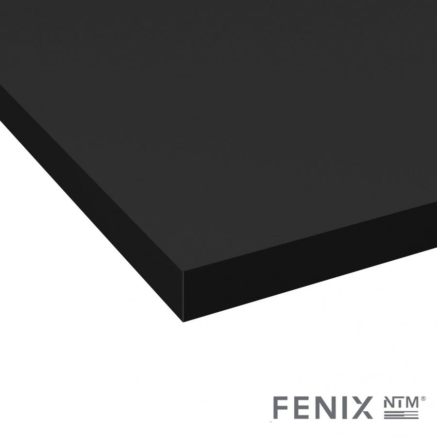 Plan de travail de cuisine N°117 Décor Noir Mat FENIX NTM ® Stratifié, Chant coordonné, L204 x l62 x E3.8 cm, PLANEKO