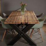 Planches d'échafaudage, bois massif, design industriel, table en bois massif, acier ...