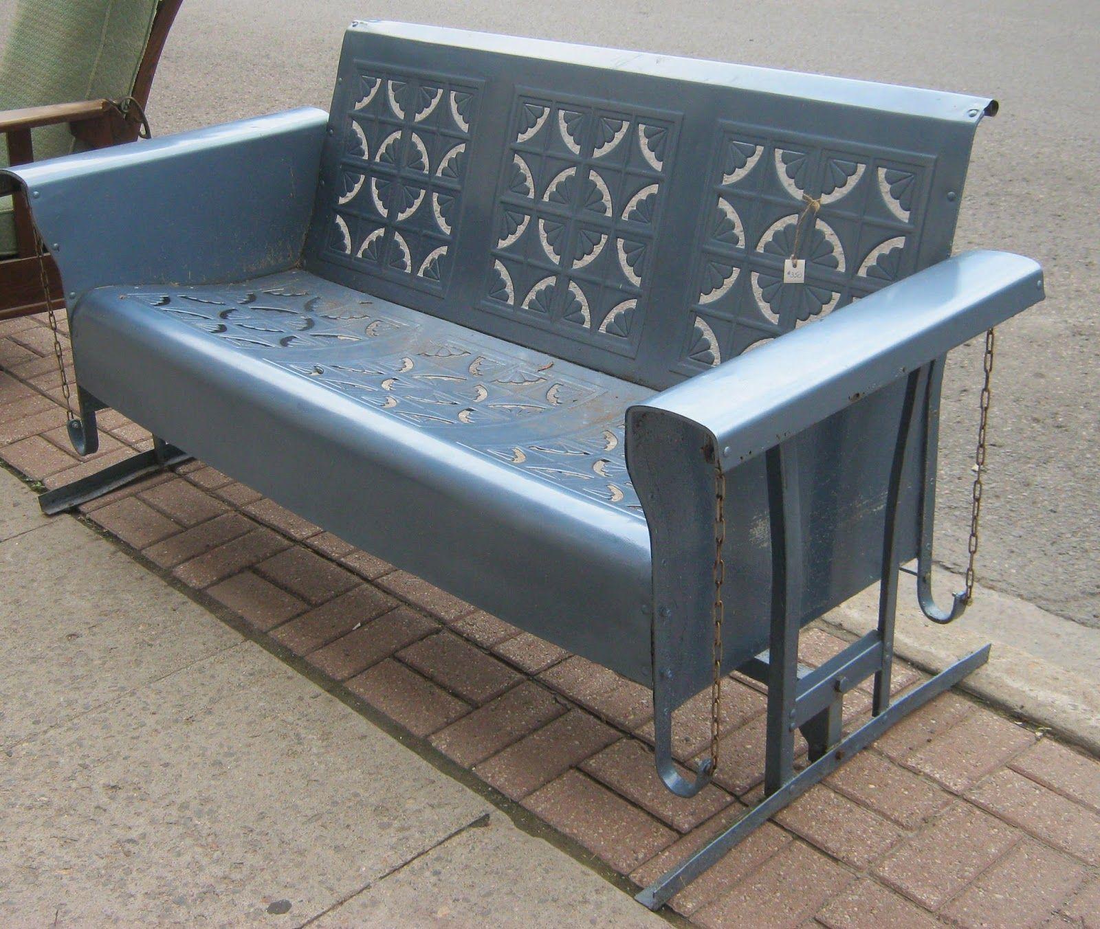 Planeur de porche, Planeur en métal vintage, Mobilier d'extérieur en métal, Planeur de patio, Vinta …