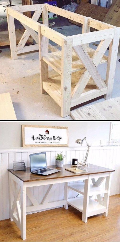 Plans pour des projets de menuiserie – Ferme X Desk Woodworking …, #build
