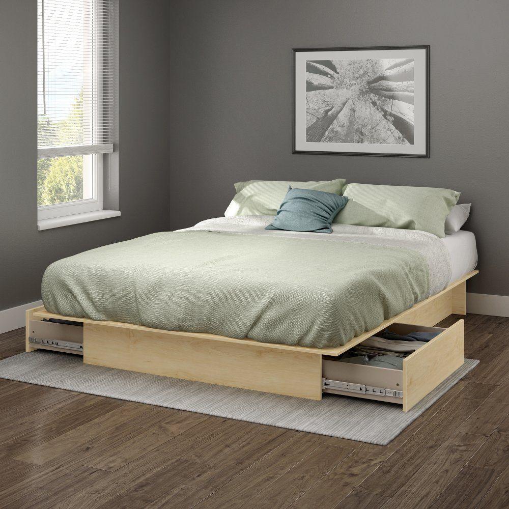 Plate-forme complète avec lit en érable naturel et tiroirs – Gramercy