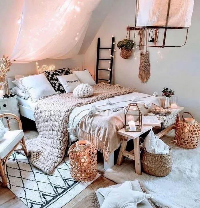 Plus de 125 idées de chambres bohèmes confortables pour votre premier appartement 19 | androidtips.me