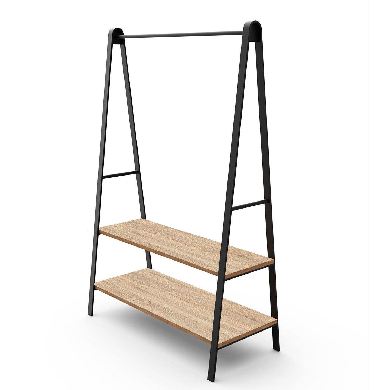 Portant 2 étagères et 1 barre de penderie noir bois/métal H.170xl.110 xP.50cm