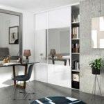 Porte de placard coulissante blanc brillant / miroir SPACEO l.98.7 x H.250 cm