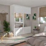 Porte de placard coulissante origami blanc / miroir SPACEO l.98.7 x H.250 cm