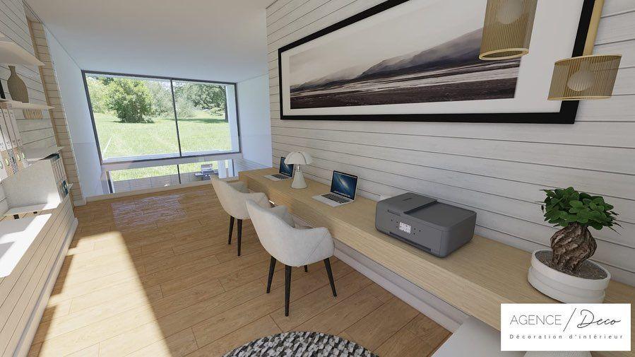 Qui aimerait un petit coin bureau ouvert à létage avec un vide sur salon ? . ….