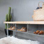 Range-chaussures, banc de rangement pour chaussures, banc d'entrée de gamme, banc industriel, fait à la main, banc en bois, banc d'entrée de gamme, range-chaussures, étagère à chaussures, banc