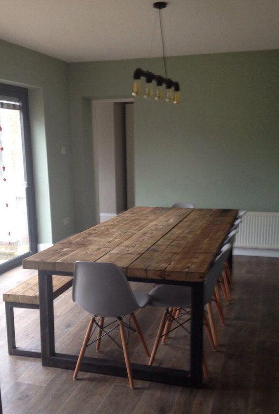 RecoveredIndustrial Chic Table à manger 10-12 places – Bar Cafe Restaurant Mobilier en acier massif bois sur mesure 473