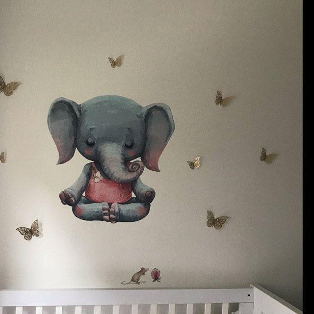 Renard d'aquarelle de pépinière de mur de calque avec le ballon, les animaux de forêt de décalque de mur, les animaux d'autocollant de mur, l'ensemble de décoration de mur de salle de bébé