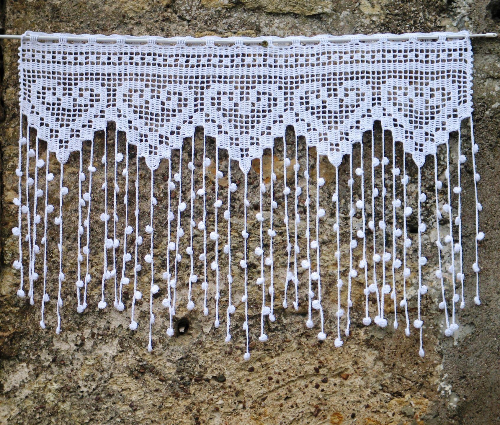 Rideau blanc en filet de crochet pour fenêtre ou porte vitrée : Textiles et ta…