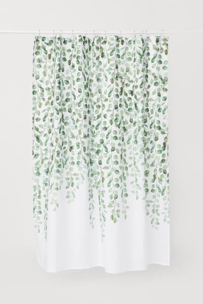 Rideau de douche à motifs – Motif blanc / feuilles – | H & M DE 3