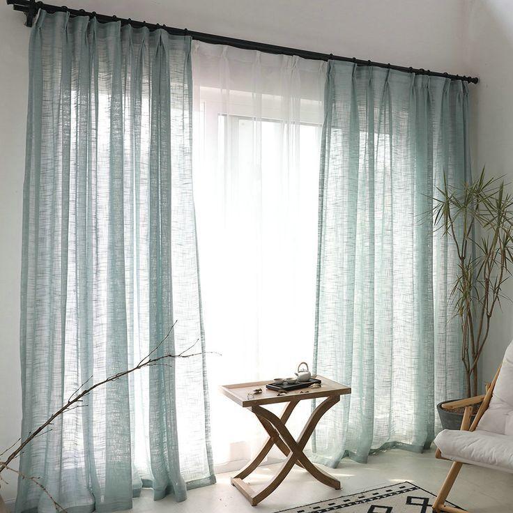 Rideau de minimalisme bleu de couleur unie dans le salon