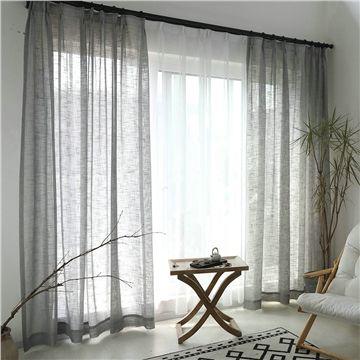 Rideau de minimalisme gris Couleur unie dans le salon
