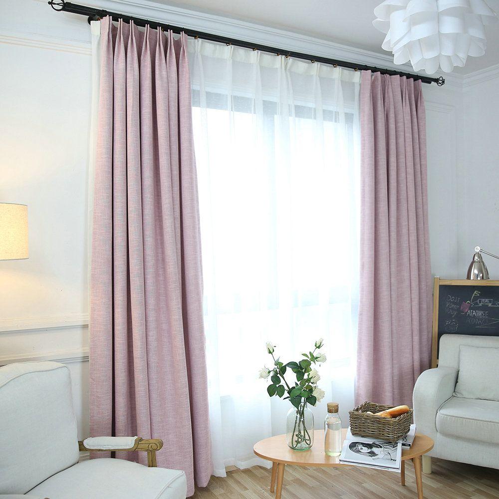 Rideau en lin et polyester de couleur unie, assorti au salon