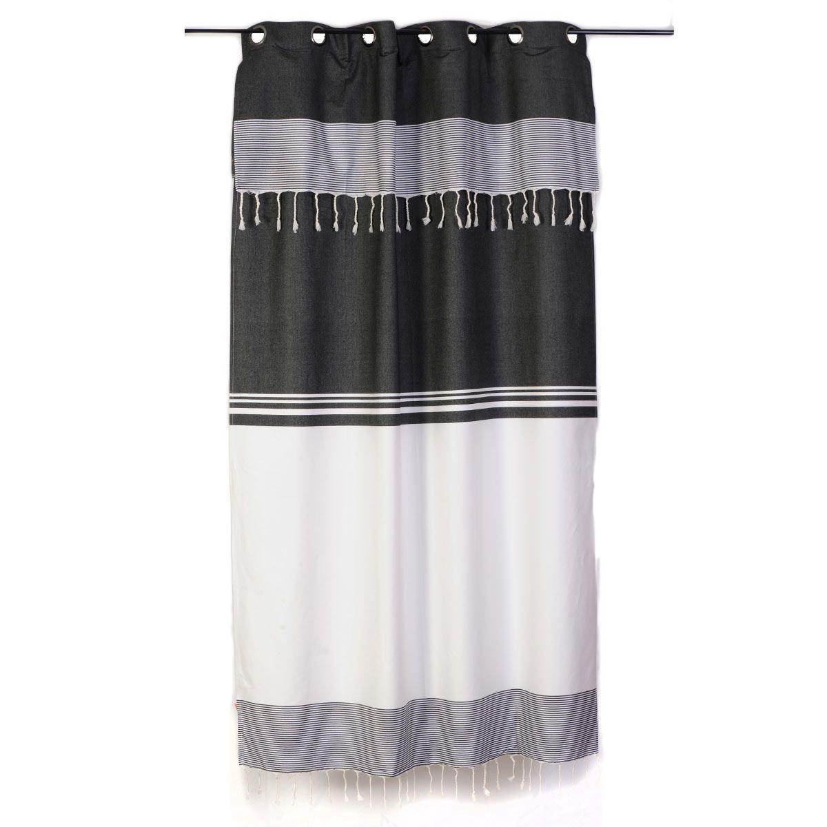 Rideau rayé noir et blanc style ethnique chic et ajustable en hauteur par un sy…