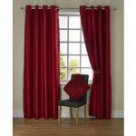 Rideaux à oeillets en soie synthétique rouge 167 x 183cm - Salle de séjour