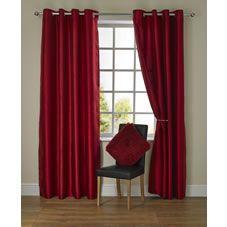 Rideaux à oeillets en soie synthétique rouge 167 x 183cm – Salle de séjour