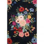 Rifle Paper Co. x Loloi Les Fleurs Rug Juliet Rose Bouquet Black