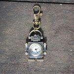 Robot steampunk, montre de poche, porte clefs, bronze / Steampunk Cute Gift Bronze Robot Pocket Watch Charm Key Ring Chain