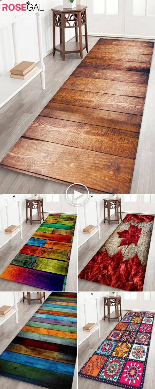 Rosegal Tapis de Noël en bois imprimé idées de décoration de salle de bain de Noël