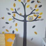 SUR COMMAND - Stickers Hibou et petits oiseaux - Jaune gris blanc - Déco ...