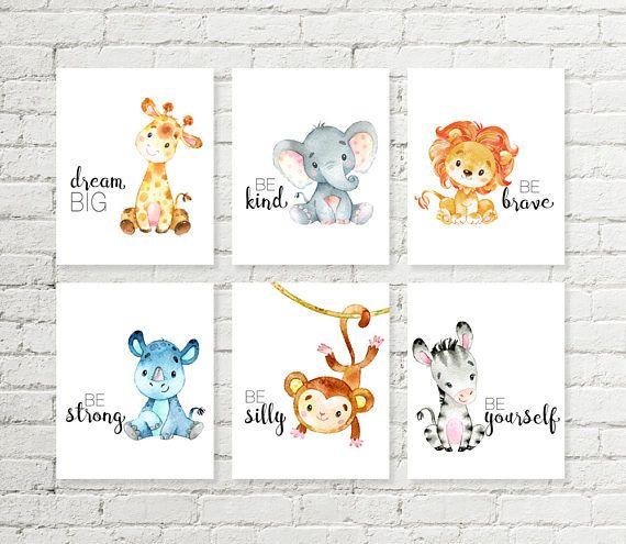 Safari pépinière imprimer girafe éléphant lion singe rhinocéros zèbre animaux de la jungle à imprimer mur cadeau de naissance cadeau de douche 5×7 8×10 10×10 A4 ensemble de 6