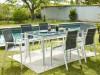 Salle à manger de jardin MAHINA en aluminium - une table + 6 fauteuils - Assise anthracite