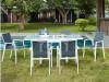 Salle à manger de jardin SALYAN en aluminium – une table extensible 90/180cm + 6 fauteuils – Assise anthracite