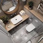 Salle de bain, carrelage ciment et bois - #bain #bois #carreau #cim