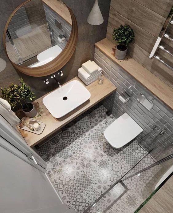 Salle de bain, carrelage ciment et bois – #bain #bois #carreau #cim