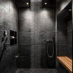 Salle de bain, éclairage de plafond, cabine de douche, sol en ardoise et carrelage en pierre - #Badz ...