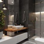 Salle de bain sombre avec douche transparente ...