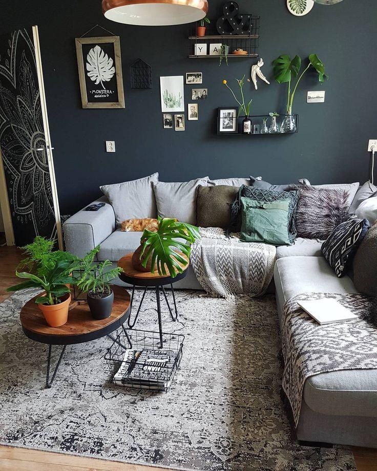 Salon Boho Urban Jungle Mostera Vert Inspiration Végétale, # sombre …