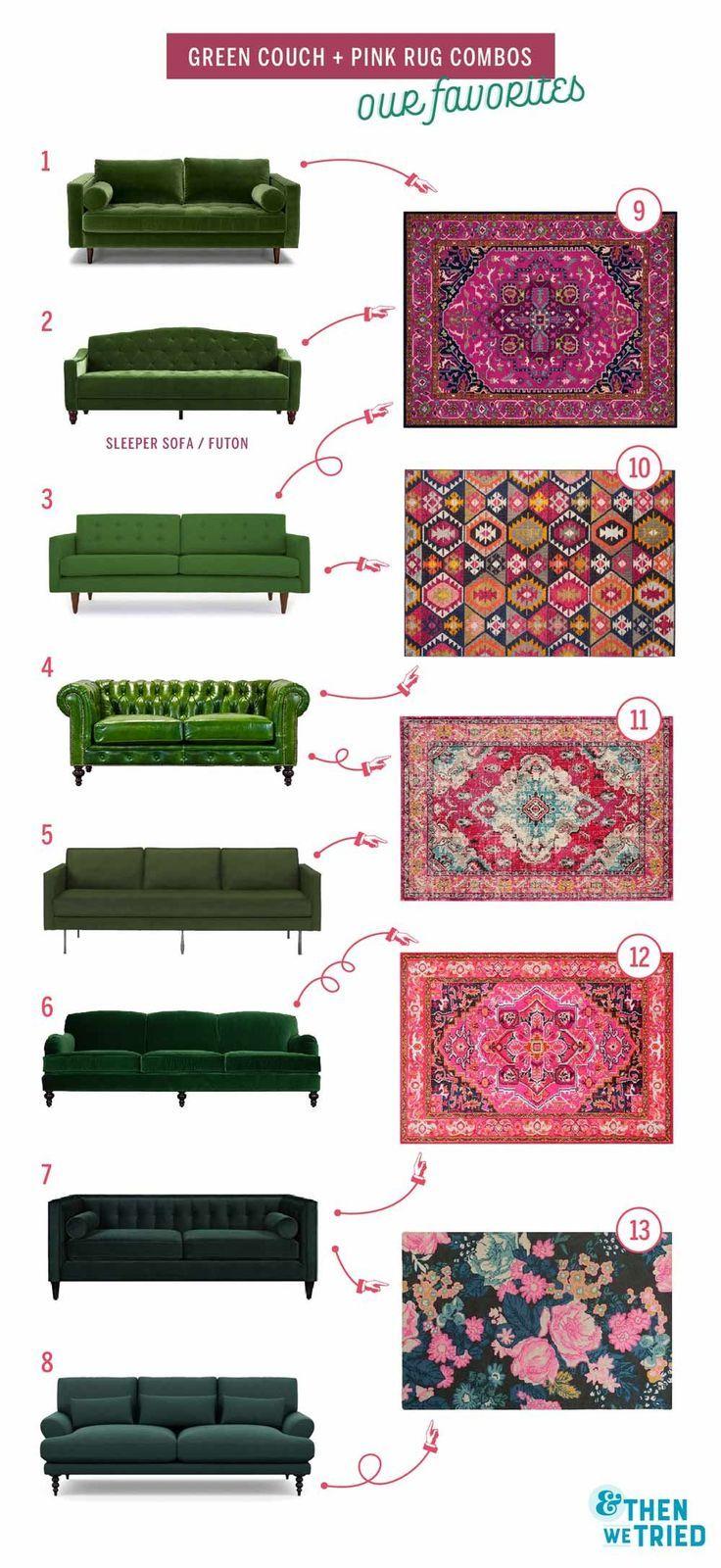 Salon coloré rafraîchissant: canapé vert et tapis rose