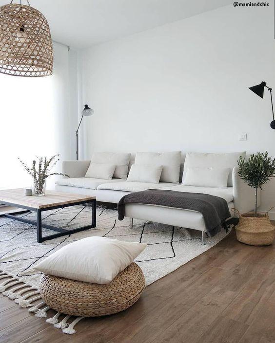 Salon moderne, design scandinave, éléments naturels, plantes, canapé blanc, …