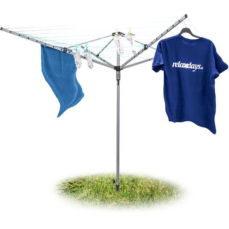 Sèche-linge parapluie Corde de 49 m 4 côtés Piquet de sol très stable Séchoir, gris – RELAXDAYS