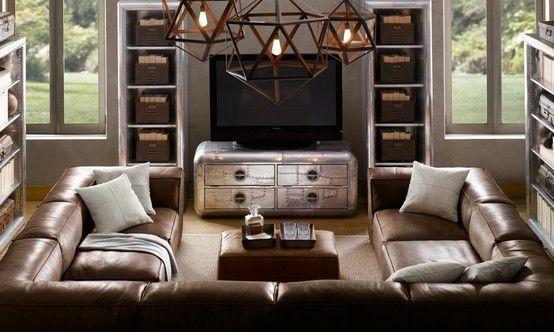 Sectionnels pour petits salons – Sectionnel en cuir en forme de U – #leather #livin …