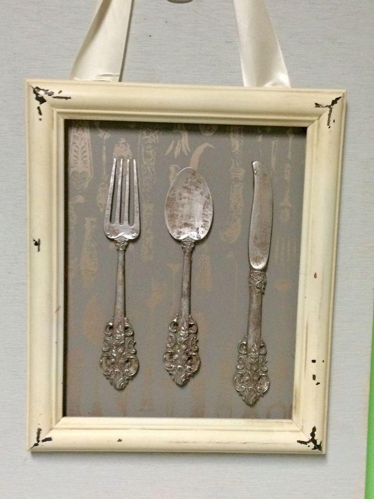 Shabby Chic couteau fourchette et cuillère encadré Wall Art – #Art #Chic #Fork #Framed #Kni …