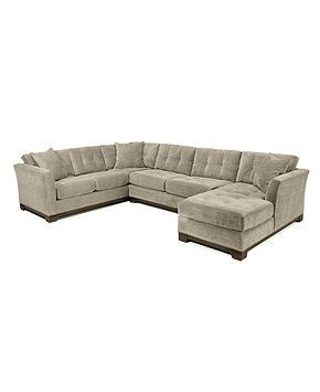 Sofa sectionnel de 3 pièces en microfibre de tissu Elliot, créé pour Macy's