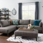 Sofa sectionnel de gauche Gena 2 pièces en tissu d'apparence lin - anthracite