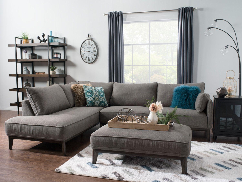 Sofa sectionnel de gauche Gena 2 pièces en tissu d'apparence lin – anthracite