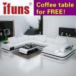 Sofa sectionnel en cuir blanc