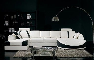 Sofa sectionnel en cuir reconstitué blanc et noir avec appuie-tête moderne