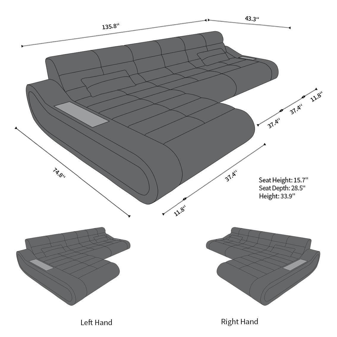 Sofa sectionnel modulaire Concept L Long