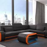 Sofa sectionnel petit cuir Seattle LED