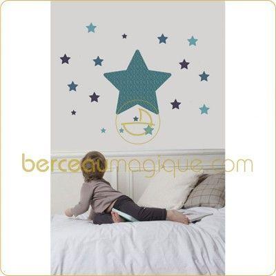 Sticker mural chambre étoile bleu