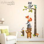 Sticker mural de la croissance des animaux des bois, Stickers de la croissance des animaux de la forêt, Décorations murales pour les pépinières des bois, Owl Bear Fox Raccoon